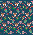 deer with candy cane and presents background vector image