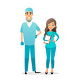 doctor and nurse team cartoon medical staff vector image vector image