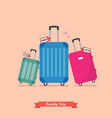 family trip with travel luggage set vector image vector image