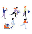 flat people with present gift boxes set vector image vector image