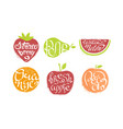 fresh fruits prints set strawberry pear vector image