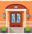 Front Door Of House Decorated By Siding vector image