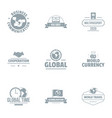 global time logo set simple style vector image