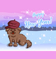 greeting card with dog in beret vector image vector image