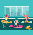 group of happy women doing yoga in a studio vector image vector image