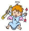 Happy little cupid cartoon vector image