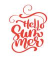 hello summer handwritten vector image