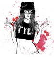 hip hop swag girl vector image