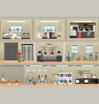 hotel interior set with reception vector image vector image
