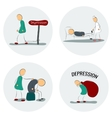 Icon set man in depression vector image vector image