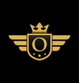 letter o shield wing vector image vector image