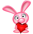 lovely rabbit holds love heart vector image