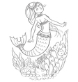 mermaid swimming in ocean coloring page vector image vector image