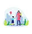 mother and her children walking in park vector image