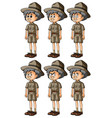 old man in safari outfit with different emotions vector image vector image