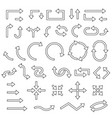 outline arrows set curved traffic icons
