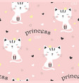 pattern with cute princess cat vector image