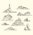 pencil drawings isles with rocks and fortresses vector image