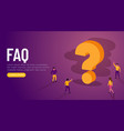 people characters standing near question marks vector image vector image