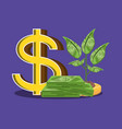 pile of bills dollar with plant isolated icon vector image vector image