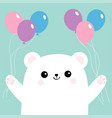 polar white small little bear cub holding round vector image vector image