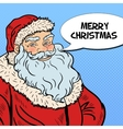 Pop Art Santa Claus wishing Merry Christmas vector image