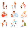 sad parents angry dad punish son scared kids vector image