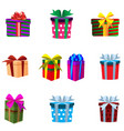 set of colourful gift boxes isolated on white vector image