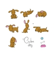 Set of cute cartoon dogs vector image vector image