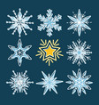 set of snowflakes in thin line style vector image vector image