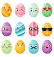 set painted easter eggs with funny faces vector image vector image
