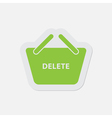 simple green icon - shopping basket delete vector image vector image
