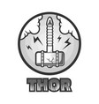 Thors powerful hamer that falls on earth vector image