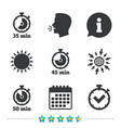 timer icons fifty minutes stopwatch symbol vector image vector image