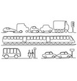 transport vehicles one line drawing vector image vector image
