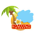 tropical island with palm tree and plumeria flower vector image vector image