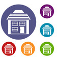 two-storey house with sloping roof icons set vector image vector image
