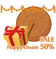 umbrella of king mahabali and gift box happy onam vector image vector image