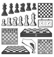 vintage chess game elements set vector image vector image