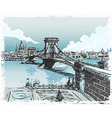 Vintage Hand Drawn View of Lions Bridge in vector image vector image