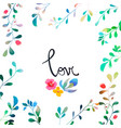 watercolor floral background with hand painted vector image