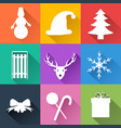 winter holiday icons set vector image vector image