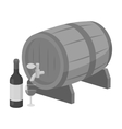 Wooden wine barrel icon in monochrome style vector image