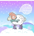 2015 new year card with cartoon sheep and speech vector image