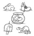 animal pet collection cartoon outlined cartoon vector image