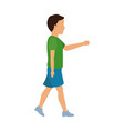 boy young walking with green tshirt and blue short vector image