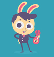 Business Bunny Holding a Chocolate Egg vector image vector image