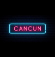 cancun neon sign bright light signboard banner vector image vector image