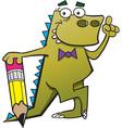 Cartoon dinosaur leaning on a pencil vector image vector image