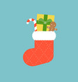 christmas socks with candy cane vector image vector image